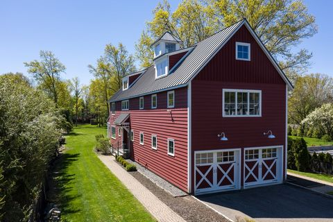 Fabulous Custom Modern Farmhouse on 1 level acre in Purchase, NY. This exceptional home offers a state of the art metal roof, Geothermal energy efficient HVAC w/6 zones, radiant heated floors throughout, full house generator, 9' ceilings, custom wood...