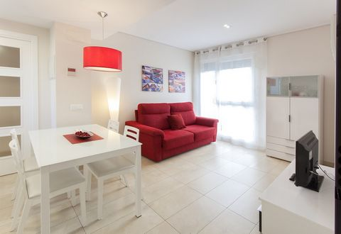 Comfortable apartment in Playa de Gandia. It has 65 m2 and capacity for 6 people. The apartment with AC warm/cold has 2 bedrooms: one with a double bed and one with two single beds. There is a sofa-bed for two extra people if necessary. There is a sh...