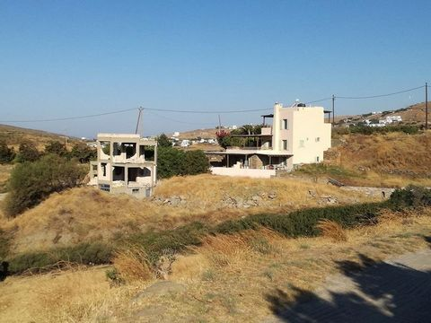 Tinos. For sale the unfinished house of 95 sq.m. with 100 sq.m. basement on a plot of 1519 sq.m. in an amphitheater point with unrestricted views, 5 minutes drive from the beaches of Agios Ioannis porto, Skylander and Agios Sostis, year of constructi...