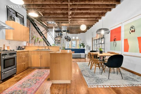 This splendid urban chic multi-family townhouse is located in the heart of Bushwick's thriving artistic community, just steps away from the Jefferson Street Station on the L-Train. The 1910 brick row house has two apartments, each configured with one...