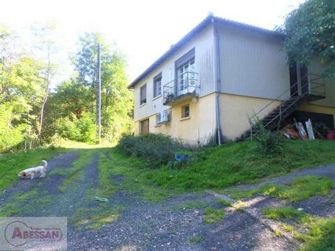 TARN (81) For sale on the outskirts of Graulhet, a property (house on semi-underground basement of approximately 120 m2 of living space) on a large plot of 3 hectares, fenced, with fruit trees and outbuildings. The living area consists of an entrance...