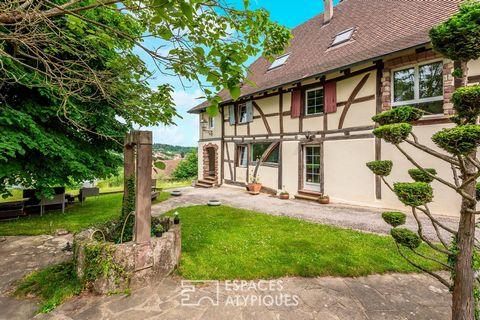 Surplombant un charmant village à 10 minutes d'Altkirch, cette ancienne ferme développe 335 m² sur 18 ares de terrain avec vue dégagée. Mêlant harmonieusement grès des Vosges et authentiques colombages, elle a bénéficié d'une rénovation contemporaine...