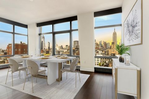 MOST SOUGHT AFTER LINE IN THE BUILDING! New Construction 3 bedroom, 3.5 bath residence with Northern, Western and Eastern soaring views. Featuring 10 ft high ceilings with floor to ceiling windows overlooking the skyline. Custom interiors by Benjamin...