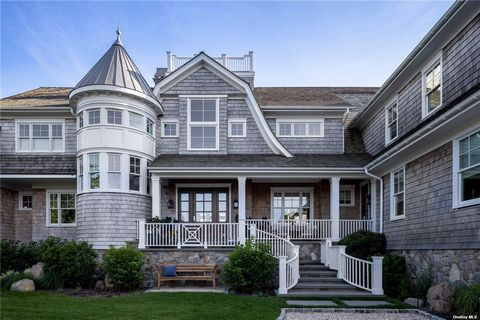Exquisite Hamptons-Style Gambrel Home newly built in 2017, situated on a double lot in Asharoken facing Northport Bay totaling 5.44 acres. Approx. 150' of Bay Frontage with Private Beach and Permitted Dock. Outdoor Full Kitchen utilizing Natural Gas....
