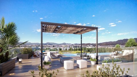 Located in the vibrant city of Malaga and 5 minutes walk to the beach, this contemporary style building it is a new concept of Urban Living. Top floor apartment with the facilities include Co Working area, Skypool and chill-out, al fresco gourmet bar...