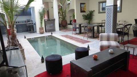"""Contemporary guest house riad, with a successful decoration """"Beldi Chic"""" style. Rebuilt, the riad is very healthy and has the latest technical features with modern comforts. Fully furnished and equipped, very neat. 7 bedrooms with bathrooms, 1 terrac..."""