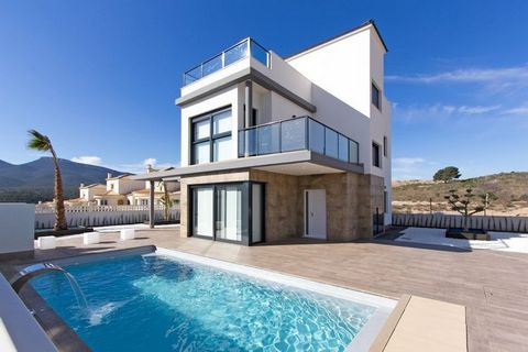 Only 3 left...Spacious villas located in Castalla, Alicante known for its beautiful landscapes **Residential complex of 16 amazing detached villas 4 bedrooms 3 bathrooms Living-dining room Kitchen Terrace and garden Solarium 48.80m2 Private pool 7x4m...