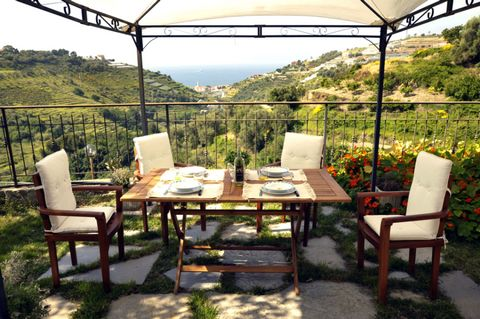 In the hills above the coastal town of Riva Ligure lies the medieval Italian village of Pompeiana, surrounded by olive groves and flowering plants. San Bernardo Mountain protects Pomeiana from cold winds in winter, while during summer provides the vi...