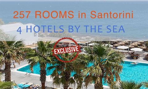 Investment for serious Investors EXCLUSIVE. 3 Hotels Santorini with total 212 Luxury Apartments + Land to build one more 5* Hotel All Hotel by the sea! Two 4* Hotels and one 5* Hotel + Ability to build one more 5* Hotel and reach the capacity of 257 ...