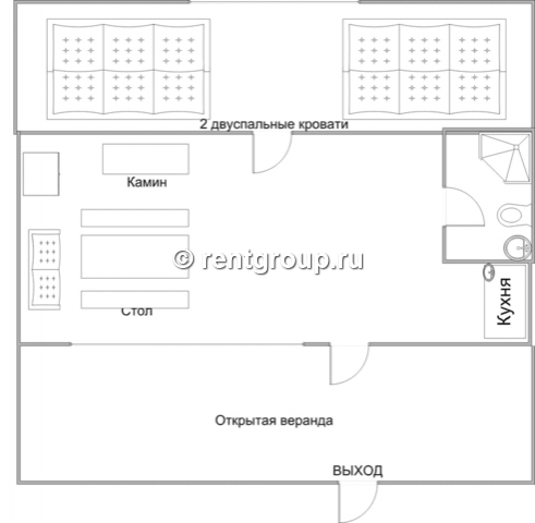 Лот №p6097181. Коттедж на 2-4 человека Деревянный коттедж, общей площадью 25 кв.м., расположенный на первой линии, подойдет для комфортного проживания семьи с детьми. В коттедже расположены гостиная с удобным диваном, обеденным столом и камином, кухо...