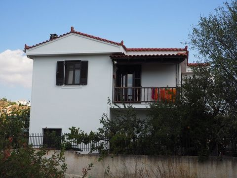 For sale a detached house of 200 sq.m, located on the plot of 500 sq.m. The house consists of two floors, which are connected by an internal wooden staircase. The house has a covered wooden terrace at the entrance. The ground floor consists of a ver...
